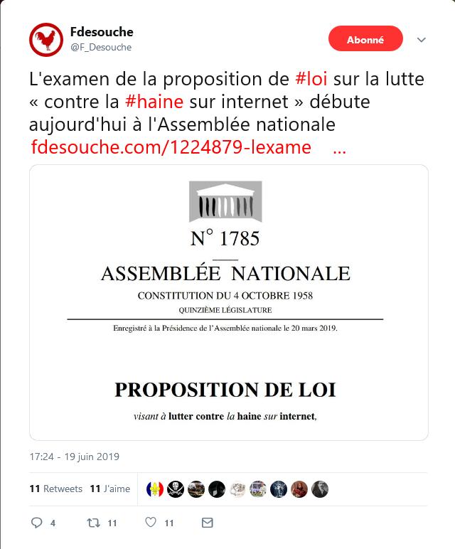 Screenshot_2019-06-20 Fdesouche sur Twitter L'examen de la proposition de #loi sur la lutte « contre la #haine sur internet[...].png