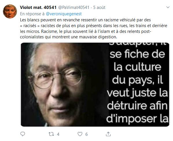 Screenshot_2019-08-07 Véro Genest sur Twitter C'est quoi ce discours raciste assumé Elle a pété un cable https t co 9Kxh4kI[...](1)