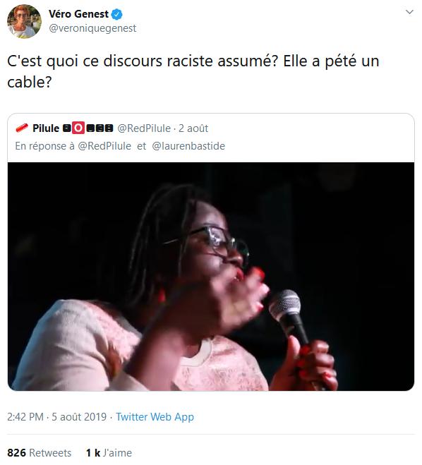 Screenshot_2019-08-07 Véro Genest sur Twitter C'est quoi ce discours raciste assumé Elle a pété un cable https t co 9Kxh4kI[...](3)