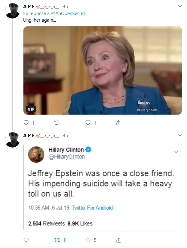 Screenshot_2019-08-10 An Open Secret sur Twitter Less than 1 hour after news of Jeffrey Epstein's death, #ClintonBodyCount [...](2)
