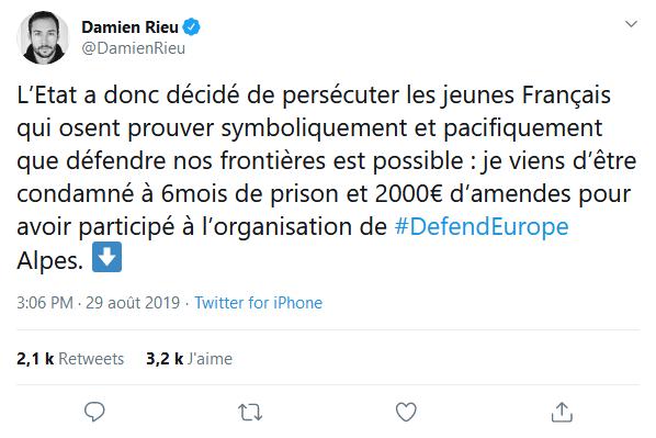 Screenshot_2019-08-30 (2) Damien Rieu sur Twitter L'Etat a donc décidé de persécuter les jeunes Français qui osent prouver [...]