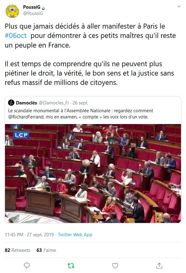 Screenshot_2019-09-28 (2) PoussiG ن sur Twitter Plus que jamais décidés à aller manifester à Paris le #06oct pour démontrer[...]