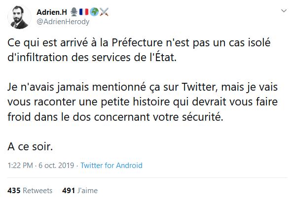 Screenshot_2019-10-07 (2) Adrien H 🎙️🇫🇷🌍⚔️ sur Twitter Ce qui est arrivé à la Préfecture n'est pas un cas isolé d'infil[...]