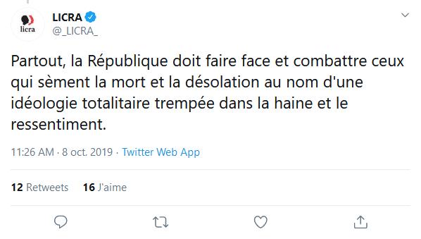Screenshot_2019-10-17 (1) LICRA sur Twitter Partout, la République doit faire face et combattre ceux qui sèment la mort et [...]