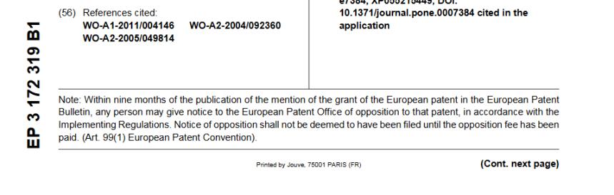 Screenshot_2020-02-08 CORONAVIRUS - European Patent Office - EP 3172319 B1CORONAVIRUS - European Patent Office - EP 3172319[...](1)